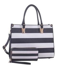 Black White Stripe Satchel & Cosmetic Pouch