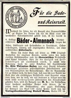 Werbung - Original-Werbung/ Anzeige 1901 - OTTO THILENIUS / BÄDER ALMANACH - ca. 90 x 120 mm