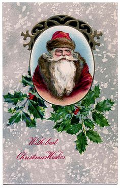 Vintage Christmas Graphic - Santa with Holly - The Graphics Fairy