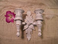 Vintage White Candle Wall Sconce / Small Space / by MorrellDecor
