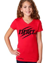 """Youth """"FIERCE"""" Sporty V-Neck Tee (Red)"""