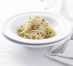 Spgahettic Carbonara: Italian comfort food without the calories, this recipe is rich and creamy, yet just one third of the fat