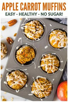 Moist Apple Carrot Muffins An easy and healthy recipe with no sugar Made with oatmeal Greek yogurt and maple syrup they are naturally sweetened filling and great for heal. Low Carb Dessert, Healthy Breakfast Recipes, Healthy Breakfasts, Healthy Recipes, Breakfast Ideas, Recipes With Greek Yogurt Breakfast, Veg Recipes, Healthy Food, Recipies
