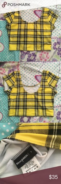 S tartan yellow nana top black milk clothing Size S, discontinued museum item. No faults, excellent condition Blackmilk Tops Crop Tops