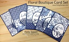 Floral Boutique card set featuring Flourish Thinlit dies and Navy and White color combo. Supplies from Stampin' Up!  Cards by Patty Bennett