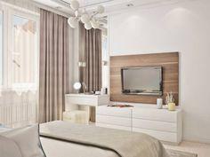 Bedroom Tv Wall, Room Design Bedroom, Modern Bedroom Design, Home Decor Bedroom, Apartment Interior, Apartment Design, Beige Living Rooms, Modern Master Bedroom, Luxurious Bedrooms