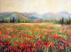 Original Oil Painting Floral landscape Spring by JBeaudetStudios, $700.00