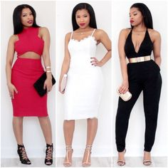Shirley B Eniang UK YouTube Guru Fashion Blogger Fashionista Black Beauty Mixed Chicks Party Looks Red Cut Out Detail Dress Lace Jumpsuit Gold Bar Sexy