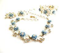 Vintage Blue White Enamel Flower Rhinestones Set