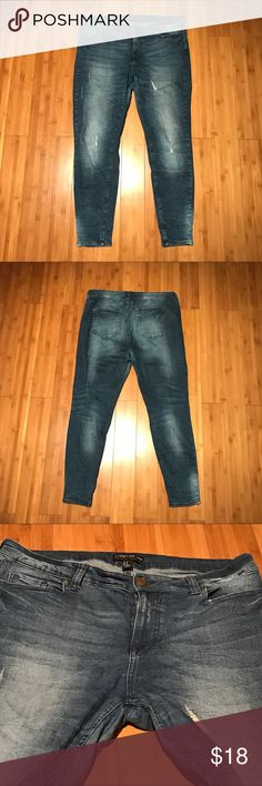 Forever 21 Plus Size Distressed Skinny Jeans. Forever 21 Plus Size Distressed Skinny Jeans. They are Mid Rise and it is the stretchy material. Only used a few times. Make me an offer! :) Bundle to save! Forever 21 Jeans Skinny