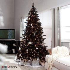 6 ft deluxe black christmas tree holiday artificial