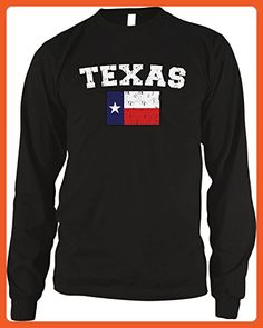 Amdesco Men's Distressed Texas Flag, Flag of Texas Thermal Shirt, Black Small - Cities countries flags shirts (*Partner-Link)
