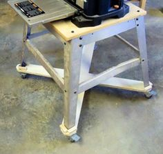 Woodshop Mobility Part I - Getting Your Tools Rolling posted on January 5, 2012 by Ralph Bagnall       Power tool stand with locking casters added