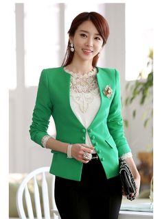 Cheap Fresh V Neck Button Embellished Green Skinny Blazer in women coats from… Cute Business Casual, Business Casual Outfits, Office Outfits, Office Uniform, Office Wear, Corporate Fashion, Office Fashion, Business Fashion, Corporate Chic
