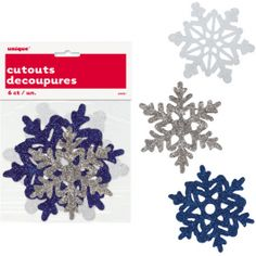 Decorate your windows with beautiful snow flakes. / Wally's Party Factory #Winter #Snowflakes #Glitter #mini #cuts