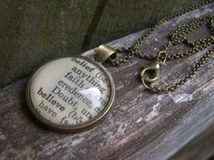 Believe Necklace-- Believe Jewelry--Vintage Dictionary Print Handmade Cabochon Necklace--Believe in Yourself Inspirational Gift by ChloesWindow on Etsy