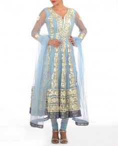 #Exclusivelyin, #IndianEthnicWear, #IndianWear, #Fashion, Moonstone Blue Suit with Gota Patti