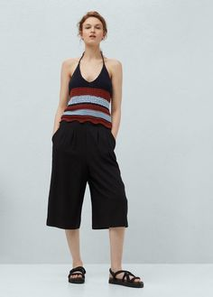 Cotton fabric Striped design V-neck Off shoulders Interwoven drawstring Beachwear For Women, Stripes Design, Off The Shoulder, Knit Crochet, Cotton Fabric, Latest Trends, Mango, V Neck, United Kingdom