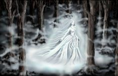 lady in forest