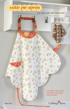 """It's cut """"quilter style"""" with a rotary cutter! I've been designing aprons for a long time, but this is the first one I designed for myself. It had to have a fla"""