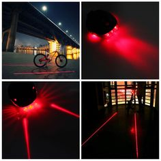 Cycling Bike Bicycle 2 Laser Red Lamps Beam LED Rear Tail Lights