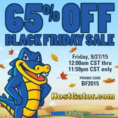 Take advantage of this HostGator Off Black Friday 2015 Promo Code, but the sale lasts only for 24 hours starting at 12 AM CST on November Coupon Codes, Black Friday, Coupons, Cloud, Wordpress, November, Coding, How To Plan, November Born
