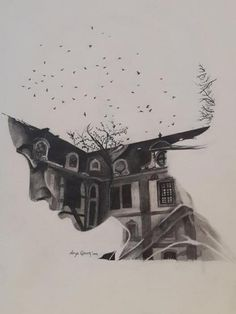 "I like this a lot. But maybe with mountains? ""Home of Memories,"" original portrait drawing by artist Derya Qasem (Turkey) available at Saatchi Art. Drawing Faces, Art Drawings, Pencil Drawings, Desenho Tattoo, A Level Art, Wow Art, To Infinity And Beyond, Art Plastique, Art Inspo"