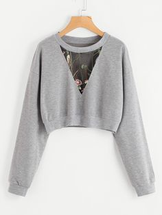 SheIn offers Embroidered Me. SheIn offers Embroidered Mesh Insert Crop Sweatshirt & more to fit your fashionable needs. Source by - Cute Comfy Outfits, Stylish Outfits, Cool Outfits, Teen Fashion Outfits, Cute Fashion, Mode Kawaii, Vetement Fashion, Crop Top Outfits, Clothing Hacks