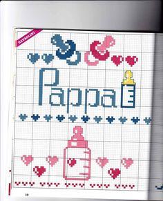 Pappa Cross Stitch Rose, Cross Stitch Baby, Knitting Patterns Free, Free Knitting, Donia, Christmas Cross, Cross Stitching, Cartoon Characters, Baby Gifts
