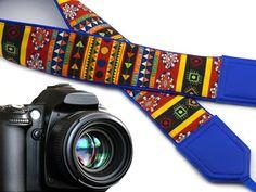 Aztec camera strap. Blue tribal camera strap. DSLR Camera Strap. Colorful Indian…