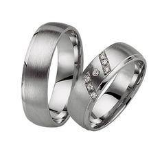 10k White Gold Satin Dome Matching Wedding Rings 0.07 Carat Round Diamond 6mm 02196