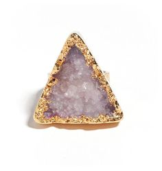 Pink triangle druzy ring
