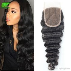 Peruvian Human Hair Deep Wave With Closure Queen Hair With Closure… Queen Hair, Lace Closure, Silk Top, Lace Wigs, 4x4, Wave, Curly, Dreadlocks, Deep