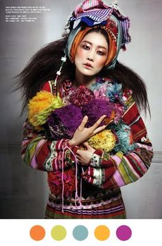 My love affair with Vogue Korea continues and this time with a very colourful and pretty fashion editorial featuring model Lee Hyun Yi in the June 2010 issue, entitled Fadeless Flowers, photographe… Foto Fashion, World Of Fashion, Fashion Art, Editorial Fashion, High Fashion, Fashion Design, Purple Fashion, Fashion Studio, Colorful Fashion
