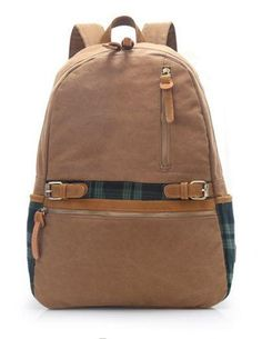 Gray Casual School Hiking Canvas Backpack with 17' Laptop ...