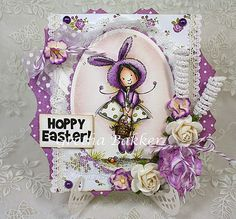 """I like to show you my first Easter card with """"Valerie Bunnie"""" , which I coloured with distress inks Valerie Bunnie of Mo Manning Digi. Mo Manning, Hoppy Easter, Cards For Friends, Winter Cards, Digi Stamps, Sympathy Cards, I Card, Your Cards, Paper Art"""