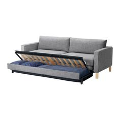 KARLSTAD Sofa bed, Isunda gray $899.00 The price reflects selected options  Storage space under the seat for pillows and large comforters.