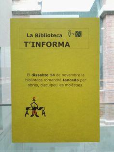El dissabte 14 de novembre la biblioteca de Ciències de la Salut romandrà tancada per obres, disculpeu les molèsties.