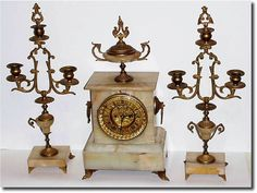 ".1890, Ansonia Clock Co., ""AUGUSTA"" 3-piece mantel set in good condition."