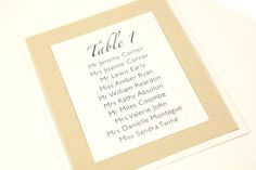 Gold Dust table card for a Wedding Table Plan http://ivyellenweddinginvitations.co.uk/other-items/table-plans