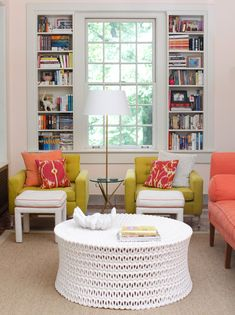 Kitchen seating area..cool coffee table ...bright colors
