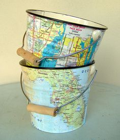 decoupage maps... perfect for the whiffle balls