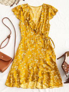 e769ed762eea31 Azulina крошечный Цветочные рюшами Обёрточная бумага мини платье 2018 Boho  Летнее платье Для женщин V Средства