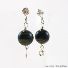 14d29b4be ... by Naturally Nickel Free. See more. These spiral wire post earrings  have dark green Brazilian Agate bead dangle. I have used