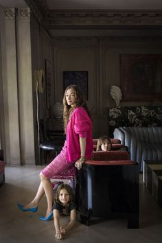 May 2013 Issue - Kelly Wearstler and her sons in their living room