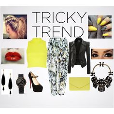 """Tricky Trend With a Pop of Yellow"" by yoshi11419 on Polyvore"