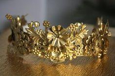 1571 Gold Flower Leaf Metal Baroque Headband