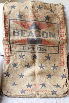 Vintage Burlap Feed Sack Farmhouse Decor Feed by TomatoFarmVintage