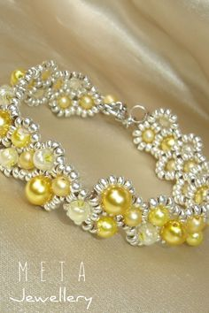 Yellow silver handmade beaded asymmetric bracelet Beaded Jewelry, Beaded Bracelets, Handmade Silver, Pearl Necklace, Pearls, Yellow, Schmuck, String Of Pearls, Beaded Necklace