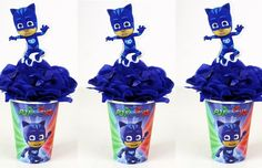 COMO FAZER CENTRO DE MESA FESTA PJ MASKS AZUL Festa Pj Masks, Shot Glass, Tableware, Centre, Blue, Dinnerware, Dishes